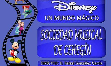 La sociedad musical de Cehegín ofrecerá un concierto sobre la música de Disney el sábado 9