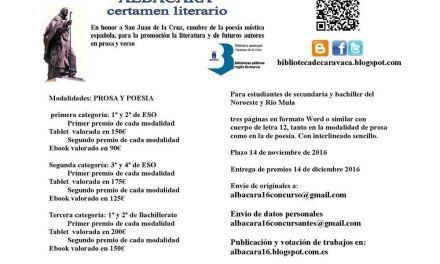 Cultura convoca el Certamen Literario Juvenil 'Albacara' entre los alumnos del Noroeste y Río Mula