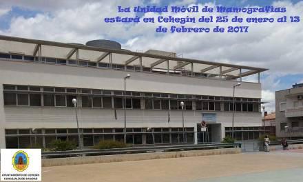 La Unidad Móvil de Mamografías estará en Cehegín del 25 de enero al 13 de febrero de 2017