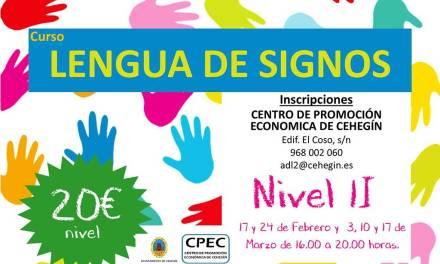 Abierto en Cehegín el plazo de inscripción para el Curso de Lengua de Signos Nivel II