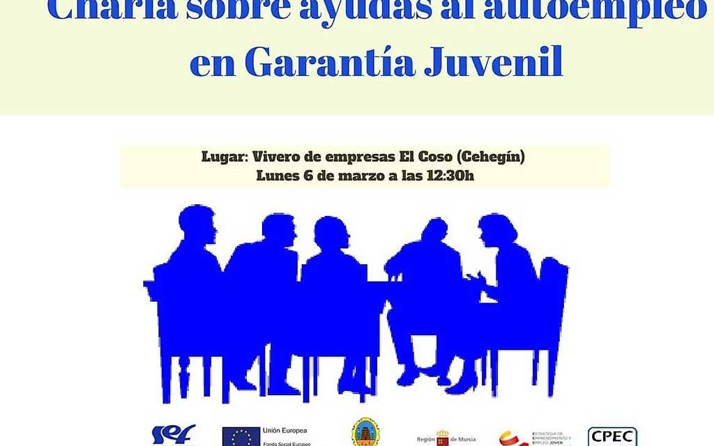 Charla informativa en Cehegín el 6 de marzo sobre ayudas al autoempleo en Garantía Juvenil