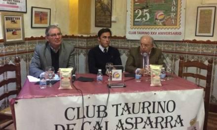 Filiberto, invitado a la tertulia mensual del Club Taurino de Calasparra