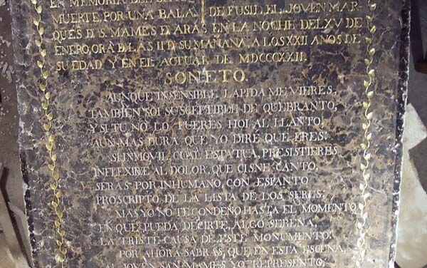 La lápida del Marqués, 1822