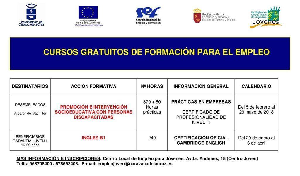 Abierto en Caravaca el plazo de inscripción en los cursos 'Inglés B1' e 'Intervención socioeducativa con personas con discapacidad'