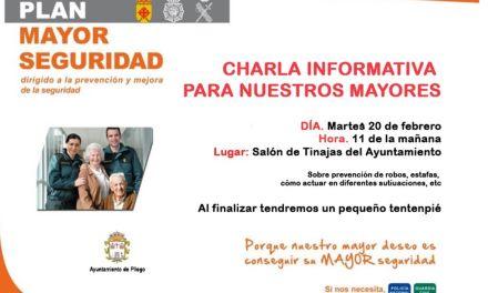 El próximo martes llega a Pliego el Plan Mayor para la prevención y la seguridad de las personas mayores