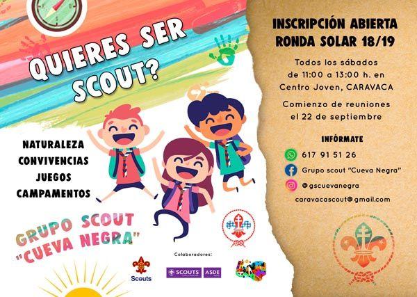 El grupo scout 'Cueva Negra' abre el plazo de inscripción para participar en las actividades de la 'Ronda Solar 18/19'