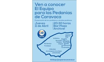 El PP de Caravaca presenta el jueves 11 de abril en Archivel los candidatos a alcaldes pedáneos para las 14 pedanías del municipio