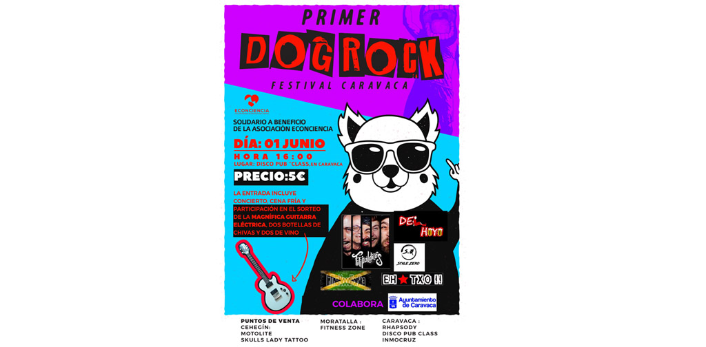 El I Dog Rock Caravaca, concierto solidario a favor de Econciencia, se celebra el 1 de junio