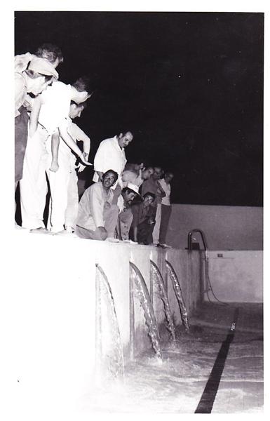16 de julio de 1972. Primer agua a la piscina