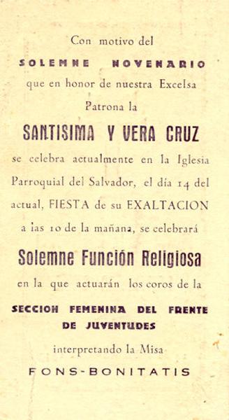Reverso del programa de 1943