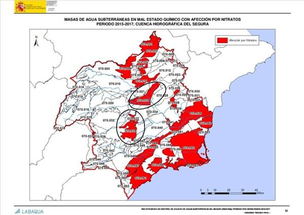 Mapa de contaminación de acuíferos