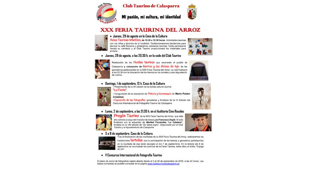 Variada agenda de actividades del Club Taurino de Calasparra con motivo de la Feria Taurina del Arroz