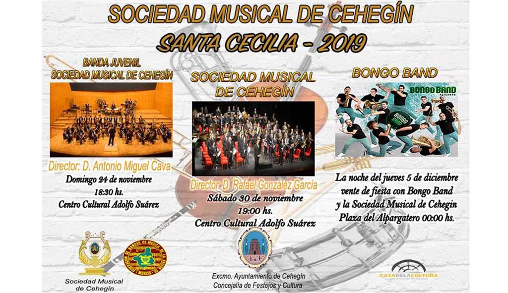 La Sociedad Musical de Cehegín celebrará por todo lo alto a Santa Cecilia