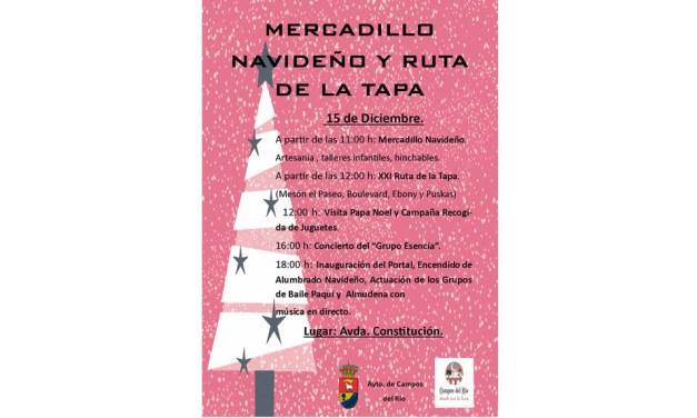 Mercadillo navideño y ruta de la tapa este 15 de diciembre con la visita de Papa Noel a Campos del Río
