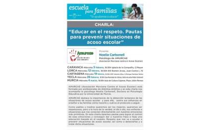 Caravaca aborda cómo prevenir y actuar ante el acoso escolar dentro de la 'Escuela para Familias'