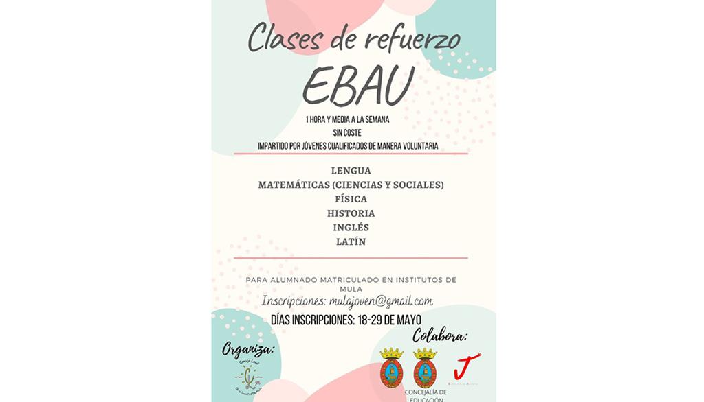 Clases de refuerzo gratuitas en Mula para alumnos de segundo de bachillerato que van a realizar las pruebas de acceso a la selectividad (EBAU)