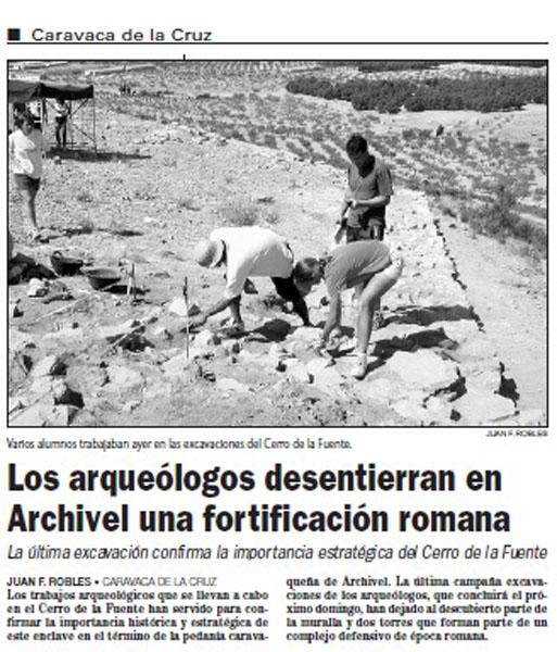 Trabajos en El Cerro de las Fuentes (La Verdad, 27 julio 2001)