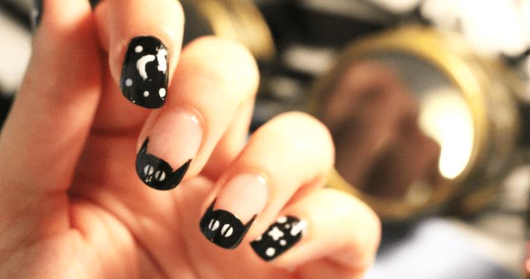 CAT & GALAXY Halloween nail art
