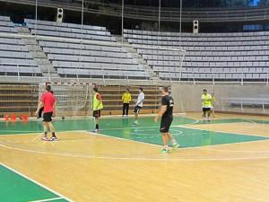 Las categorías inferiores de BM Huesca ya entrenas en el palcio / Foto: BM Huesca