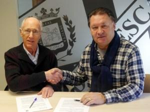 Antonio Vallés y Agustín Lasaosa presidentes de ambas entidades / Foto: SD Huesca