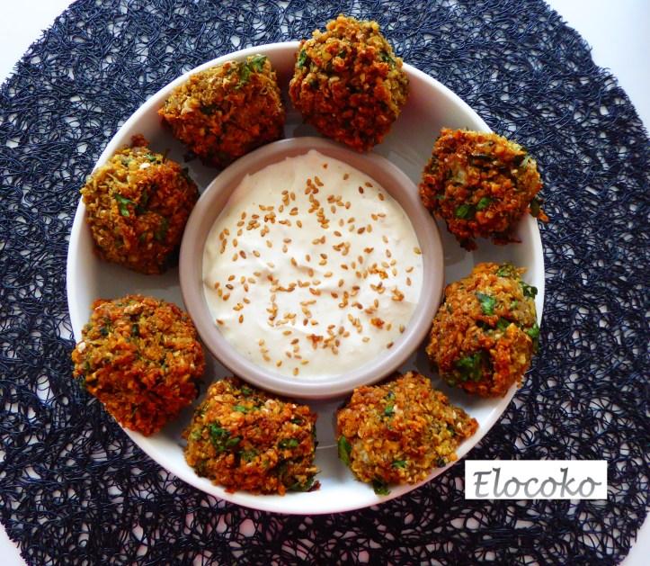 falafels pois chiches fèves sauce sésame