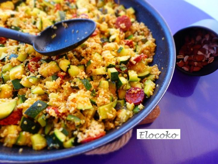 salade de boulgour, courgettes et chorizo