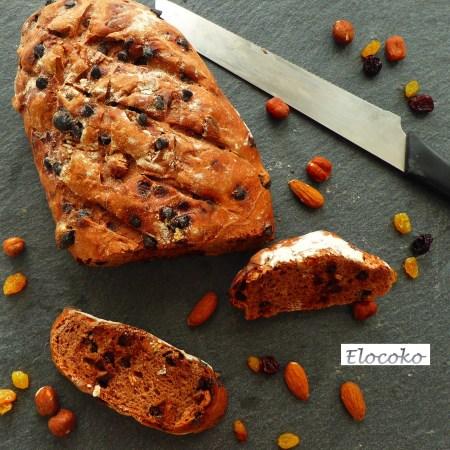 pain au chocolat, cacao et fruits secs