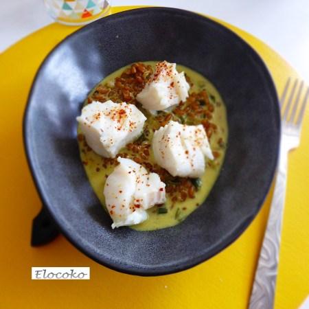Pilaf d'épeautre complet au curry et cabillaud poché au piment d'Espelette