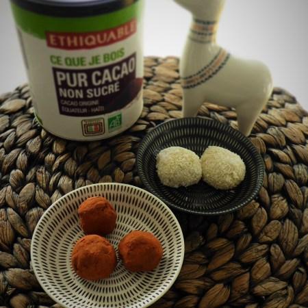 truffes chocolat noir-piment et chocolat blanc-coco-citron vert