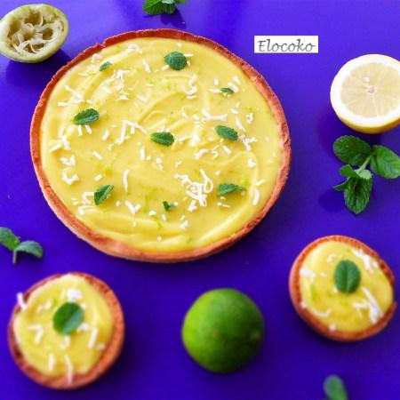 Tarte citron, citron vert et menthe