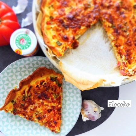 tarte basquaise, tomates et jambon cru