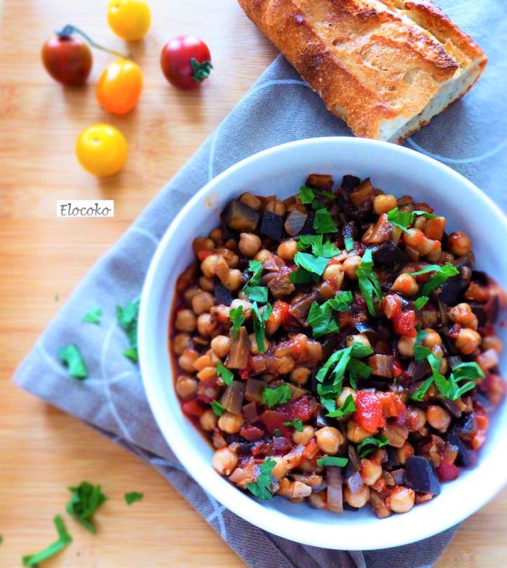 Bowl de pois chiche et aubergines grillées