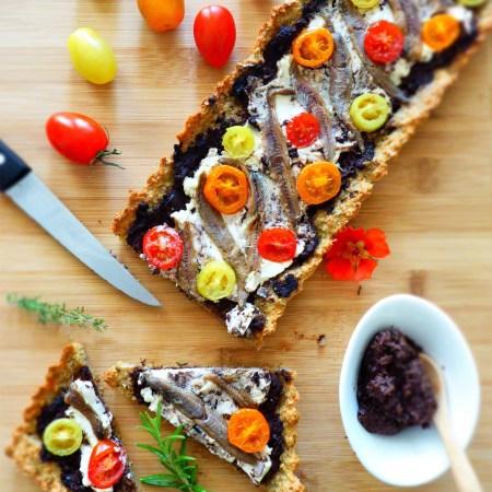 tarte légère anchois ricotta tomate cerise
