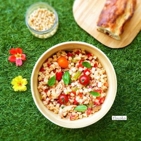 salade estivale de crozets, poulet et légumes du soleil