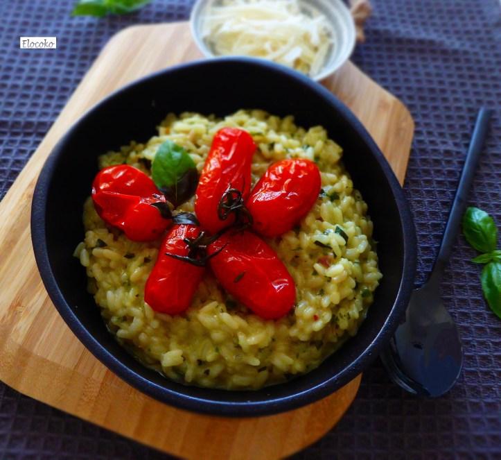 risotto basilic et tomates rôties