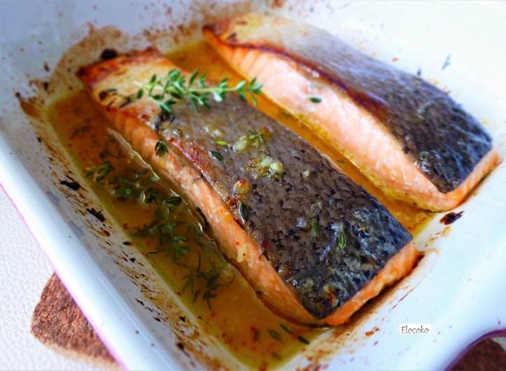 Pavés de saumon grillés marinés au thym et au miel