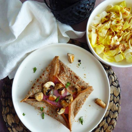 463-crêpes béchamel, jambon et champignon