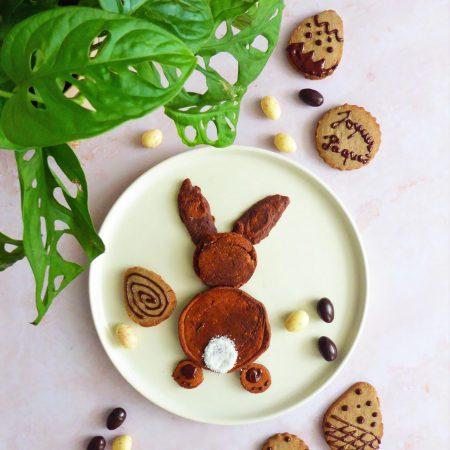 pancakes lapin de pâques et sablés chocolat sarrasin