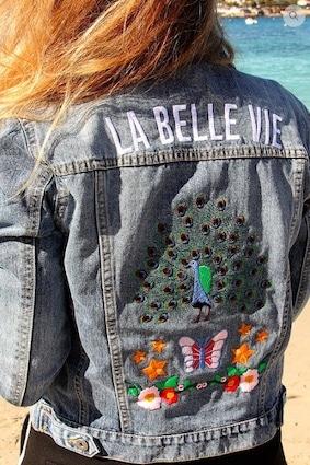 kaipih veste jean coton bio broderie francaise la belle vie paon - marques de mode éthique et écologiques pour hommes et femmes !