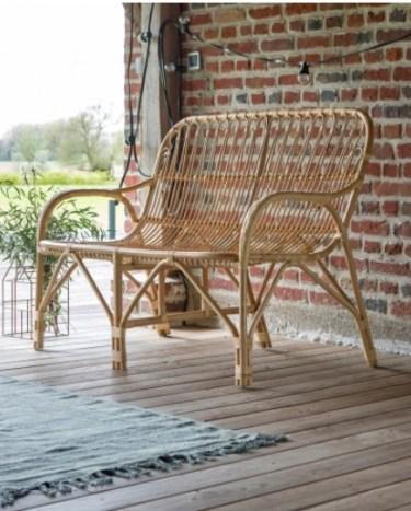 idée cadeau homme : fauteuil banquette en rotin naturel