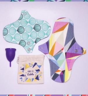 Un lot cup et serviettes périodiques lavables en coton biologique à shopper sur la e-boutique Dans Ma Culotte ! #écologie #zérodéchet #cup #coupemenstruelle #cotonbio #serviettelavable #femmes #règles