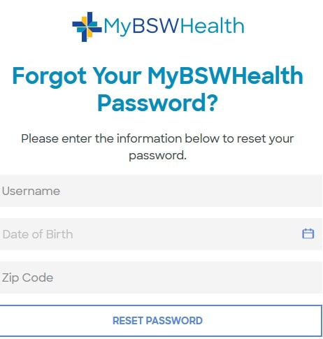 Password Reset myBSWHealth
