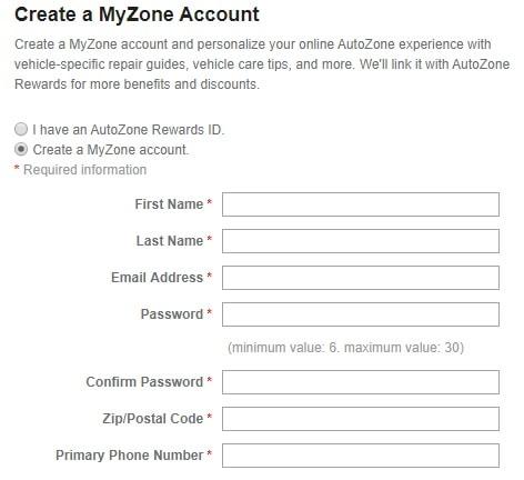 Autozone Login Create Page