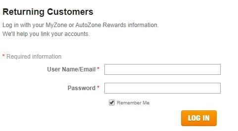 Autozone Login Details Page
