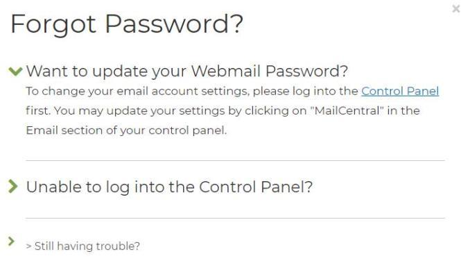 Reset ipage Webmail Password