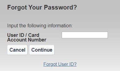 reset PayCard account password
