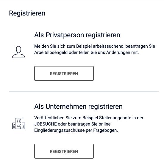 Arbeitsagentur Registrieren