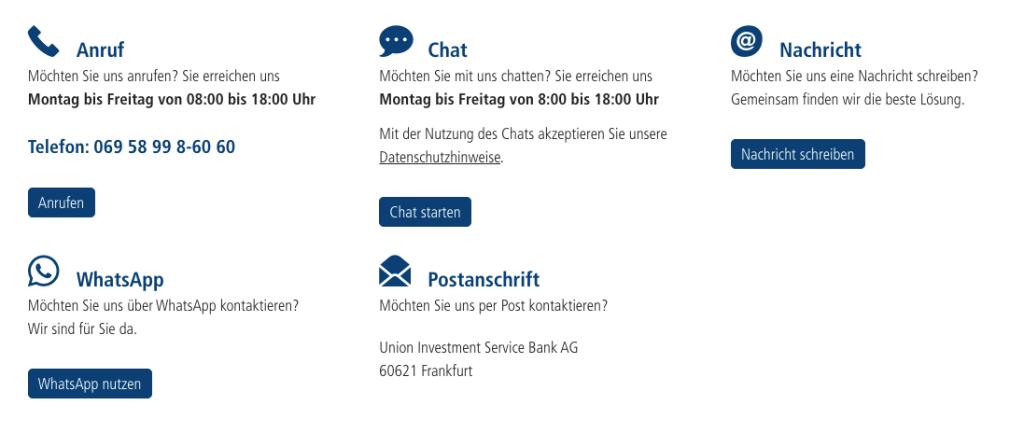 Union Investment Kontaktieren