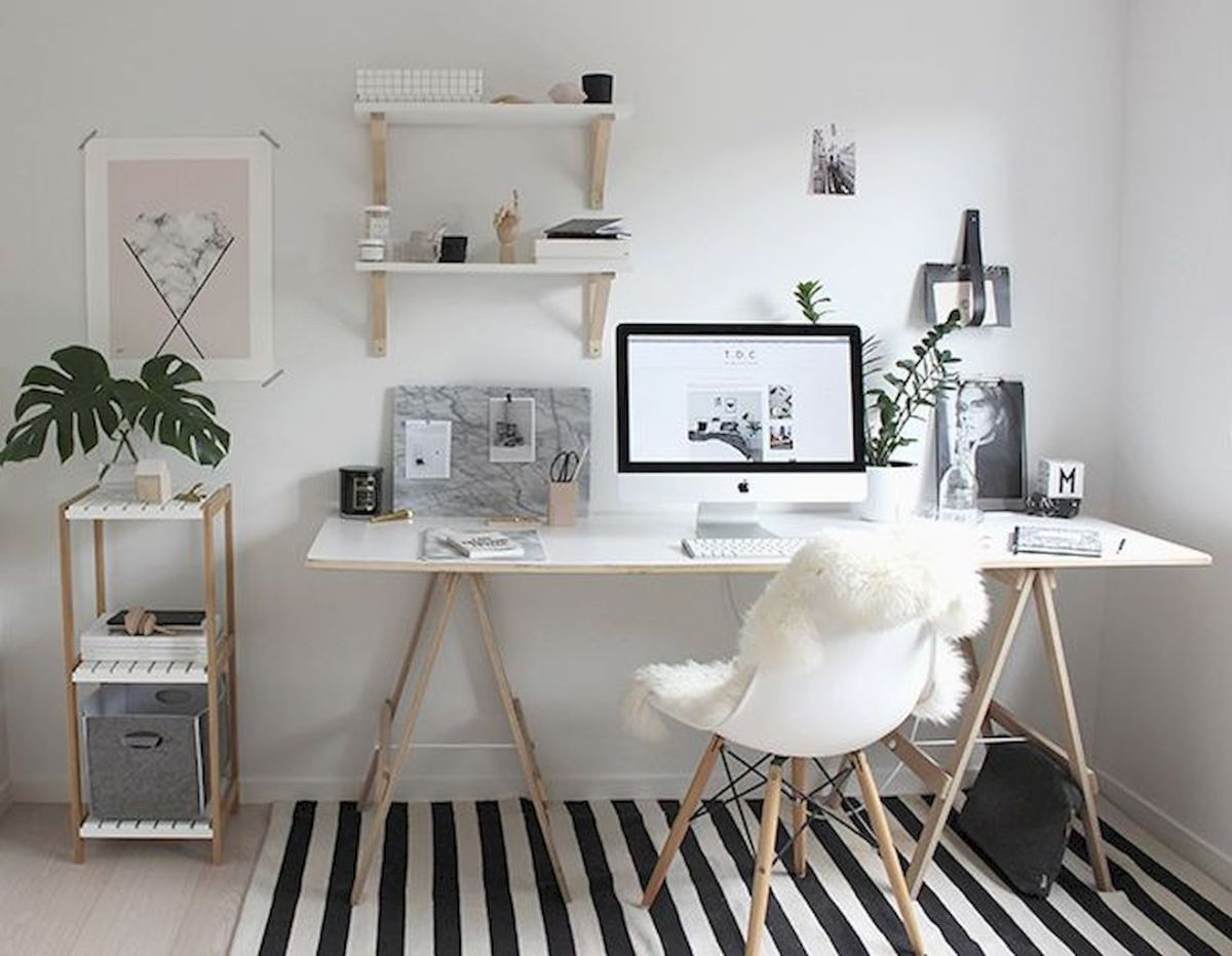 Minimalist Small Home Office Ideas with White Desk Part 24