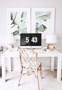 White Desk Ideas for Modern Home Office Design Part 34